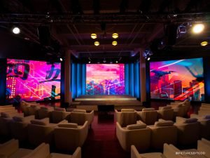 conference space with AV screens