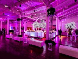reception area with pink lighting