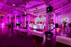 reception with pink lighting